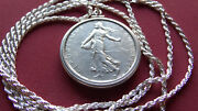 1963 France 5 Franc Silver Coin Pendant On A 24 .925 Sterling Silver Rope Chain