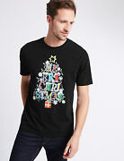 New Mands Collection Black Merry Christmas Glow In Dark T Shirt Top Sz Small