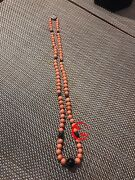 Antique Natural Coral Beads Necklace With Black Stone Beads Silver Round Button