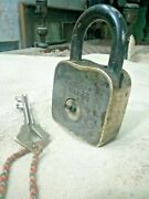 Old Brass Iron Lock And Padlock With Original Brasskey Unusual System Key-hole A-1