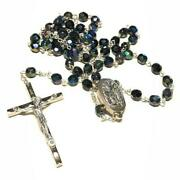 Black Ab Crystal -catholic Rosary Lourdes Water Relic -blessed By Pope
