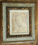 Well Listed Artist - William Edwin Fager - Watercolor And Pencil On Board -woman