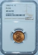 1900 Ngc Ms66rd Fs-302 S-3 Red Rpd Repunched Date Indian Cent Finest Registry