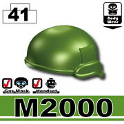 Tank Green M2000 Tactical Helmet For Lego Army Military Brick Minifigures