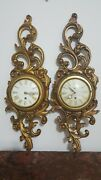 A Pair Of Vintage Syroco Scroling Goldtune Wallclock W.german 8 Day Movement