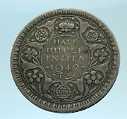 1942 India States Silver 1/2 Rupee Indian Coin Uk George Vi Vintage Coin I77523