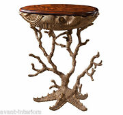 New Custom Made Louis Xvi Nautical Style Mahogany Gold Leaf End Occasional Table