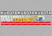 Kubota Kx61-2 Mini Digger Complete Decal Set With Safety Warning Signs