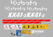 Kubota Kx41-3 Mini Digger Complete Decal Set With Safety Warning Signs