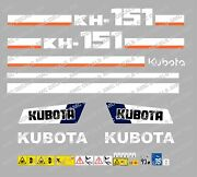 Kubota Kh151 Mini Digger Complete Decal Set With Safety Warning Signs