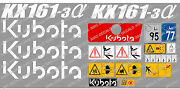 Kubota Kx161-3 Mini Digger Complete Decal Sticker Set With Safety Warning Signs