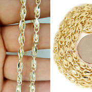 Womens 10k Yellow Gold Turkish Style 4mm Link Chain Necklace 18 - 24 Inches