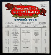 1948 Route Card W/ Paul Jerome Vintage Ringling Circus Clown Signed Autograph