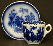 1850and039s Chinese Bells Antique Flow Blue Tea Cup And Saucer By Charles Meigh
