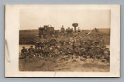 Ww1 Antique German Real Photo Rppc Postcard Soldiers With Railroad Locomotive