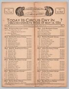 1944 Ww2 Vintage Circus Route Card Sheet Ringling Barnum Mills Cole Bros Hunt