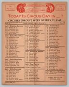 1945 Ww2 Vintage Circus Route Card Sheet Ringling Barnum Clyde Beatty Cole Bros