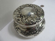 And Co Makers Sterling Silver Covered Powder Jar Embossed Flowers Leaves