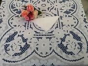 Pure Linen Tablecloth X12 With Hand-carving Embroidery 67 Inch X 148 Inch