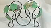 Wine Rack 3 Bottle Counter Top Metal 10w X 8h Grape Leaf Bronze Gold Accents