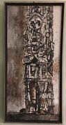 Edward Arthur Anderson Listed Mid-century Artist Abstract Icon Totem Oil Board