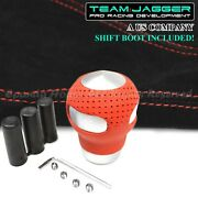 For Dodgem12 M8 M10 Red Leather Silver Shift Knob Set Screws+red Stitch Boot