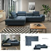 Bmf And039emponaand039 Modern Corner Sofa Chrome Legs Bed Storage Faux Leather/fabric Lf