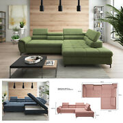 Bmf And039denvoand039 Modern Corner Sofa Bed Storage Faux Leather/fabric Rf
