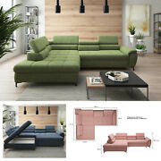 Bmf And039denvoand039 Modern Corner Sofa Bed Storage Faux Leather/fabric Lf