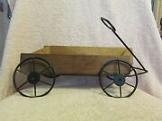 Brown Wrought Iron And Wood Garden Wagon Cart W/hearts Wall Hanging Decor
