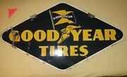 Double Sided Old Porcelain Sign Goodyear Tires 1947 . . . Bright Blue And Gold