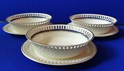 Three Early 19th C Wedgwood Creamware Basket Dishes Under Plates 892 Pattern