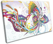 Floral Colourful Gift Swirls Abstract Single Canvas Wall Art Picture Print