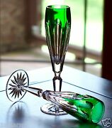 Faberge Lausanne Flutes Glasses, Emerald Green Cased Crystal, Signed