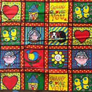 Vintage Scandinavian Fabric Bold Red Blue Granny Loves You Childrens Patchwork