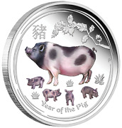 Anda Money Expo Special 2019 Year Of The Pig 2oz Silver Proof Colored 2 Coin