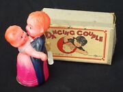 Vintage Celluloid And Tin Windup Toy Dancing Couple With Box Occupied Japan