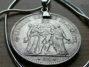 1875 French Antique 5 Franc Silver Coin Pendant And 22 Inch Silver Snake Chain