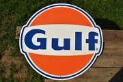 Gulf Gas And Oil Corporation Embossed Tin Metal Sign - Gasoline - Die Cut - 24