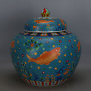Chinese Old Marked Enamel Cloisonne Filigree Fish And Waterweed Porcelain Lid Jar