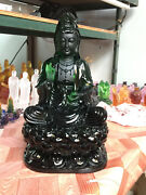 Ice Green Art Colored Glass Pate-de-verre Lotus Kwanyin Buddha Crystal Sculpture