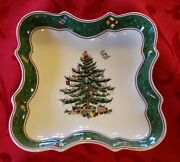 2 Spode Vintage Christmas Tree Candy Dishes Green And Red Excellent