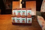 8 Antique White Milk Glass Spice Jars Red Metal Lid And Hanging Stand