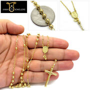 Unisex 10k Yellow Gold Mary Rosary Beads Crucifix Cross 4mm Chain Necklace 26
