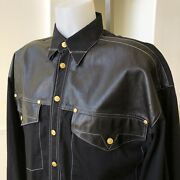 Versace Jeans Signature Black Leather And Cotton Shirt Size L From 1992 Bondage