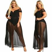 Sexy Womenand039s Plus Size Black Dress Bodysuit With Sheer Mesh Allure Lingerie