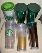 Starbucks Tall Collection Cups Tumbler Venti Cold Cup 24 Oz. Lot Of 6 Glasses