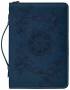 Bless The Lord Flying Compass Rose Navy Blue Medium Faux Leather Bible Cover