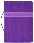 Hope In The Lord And Keep His Way Floral Purple X-large Faux Leather Bible Cover