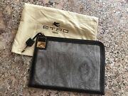 100 Authentic Etro Brown Paisley Leather Document Key Entry Hoider, Made Italy